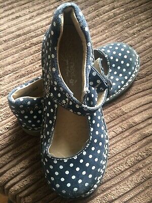 Next Girls Navy Suede Polka Dot Mary-jane Sandals Shoes 12