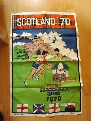 Vintage Scotland 1970 British Commonwealth Games Tea Towel Irish Linen
