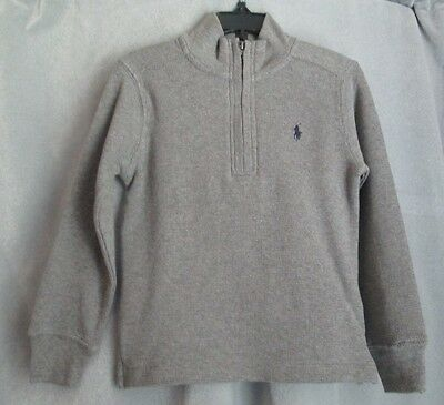 Polo Ralph Lauren Boy's L/S Mock Turtle Neck Quarter Zip Cotton Shirt Gray