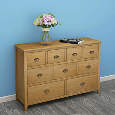 Large Solid Oak Cabinet Wooden Chest of 9 Drawers Sideboard Cupboard Furniture