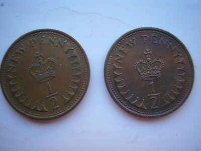 Decimal half penny 1971 and 1980 (two coins)