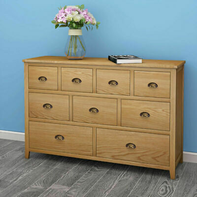Wooden Solid Oak Cabinet Chest of 9 Drawers Sideboard Large Cupboard Furniture