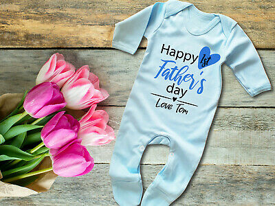 Custom Happy 1st Father's day blue Baby grow rompersuit Sleepsuit Fathers gift