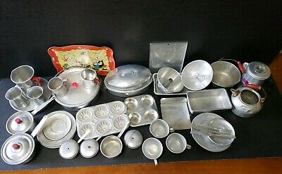 Vintage Child Toy Aluminum Tin Play Dishes Large Mixed Lot 40 Pieces