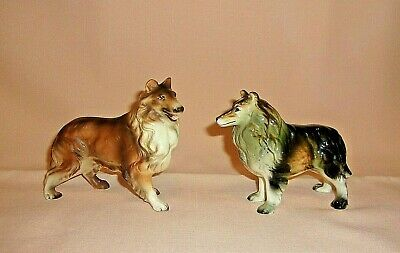 Vintage Collie Dog Figurines Made In Japan...Two Different Pieces