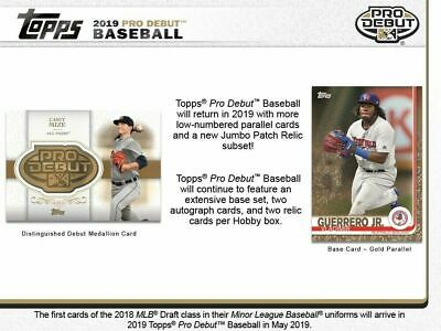 2019 Topps Pro Debut Hobby Box PRE-SELL 5/22/19 RELEASE 2 AUTOS 2 RELICS PER BOX