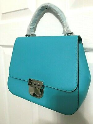 00fd59e69939e7 Michael Kors Bridgette Medium Top Handle Satchel Messenger Bag Turquoise  $398