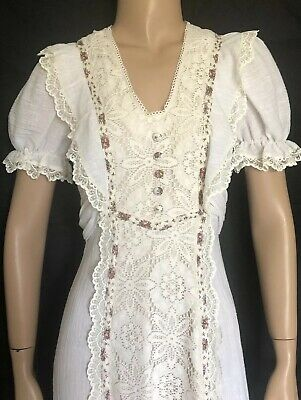 70s Gunne Sax Style Cheese Cloth Gauze & Lace Hippie Boho Wedding Dress Calico