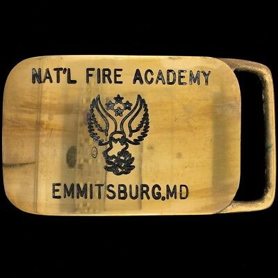 Vtg 80s National Fire Academy Emmitsburg MD Firefighter Brass Belt Buckle