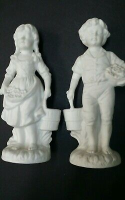 (2) Vintage European Porcelain Ceramic Victorian Figurine set, Boy Girl , Rare