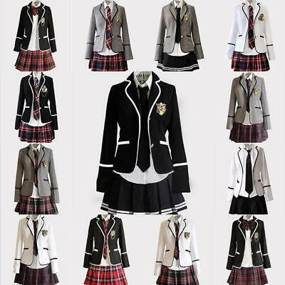 Students Girls slim fit dress school uniform Japanese coat skirt suits cosplay