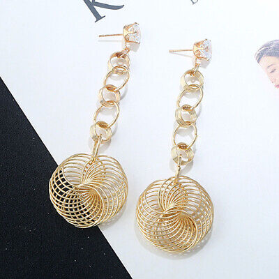 New Women Fashion Multi Big Round Circle Hoop Dangle Gold/Silver Earrings 1Pair