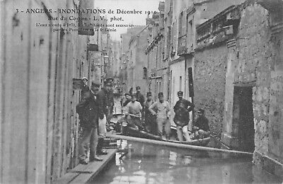 Cpa 49 Angers Inondations 1910 Rue Du Cormier