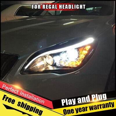 for buick regal headlights assembly bi-xenon lens double beam hid kit  2014-2016