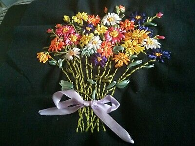 Completed Ribbon Embroidery Ribbons Bouquet  of Flowers
