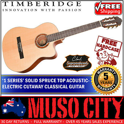New Timberidge Solid Spruce Top Acoustic-Electric Classical Guitar w Case Satin