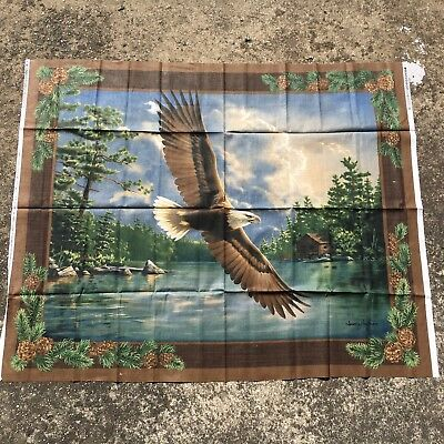 "WOODLAND EAGLE ""Brown & Green"" Gorgeous Large Quilting Panel Sewing Fabric"