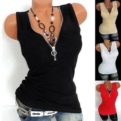 Womens Zipper V Neck Vest T-Shirt Ladies Summer Holiday Plain Tank Tops Blouse
