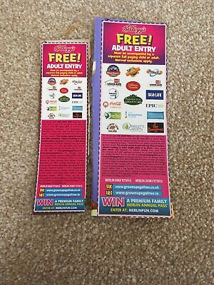 2x Kelloggs Free Adult Entry 2 for 1 Vouchers Alton Towers/Thorpe - 30 June 2019