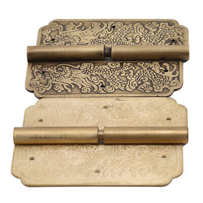 Chinese Antique Brass Hinges Door Hinge Wooden Furniture Jewelry Box Kits T