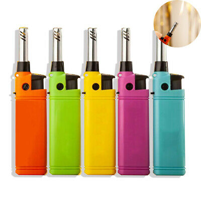 Mini Lighter Kitchen Candle BBQ Refillable Plastic Butane Gas Lighters Outdoor