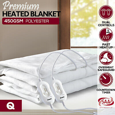 Dreamz Washable Polyester Electric Blanket Heated Fully Fitted Warm Bed Queen