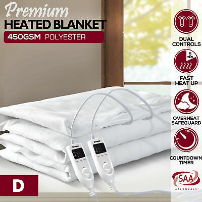 Dreamz Washable Polyester Electric Blanket Heated Fully Fitted Warm White Double