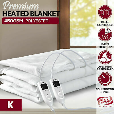 Dreamz Washable Polyester Electric Blanket Heated Fully Fitted Warm White King