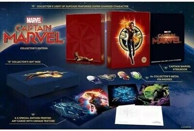 Captain Marvel 3D/2D Limited Edition Blu Ray Steelbook Set And Gifts