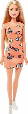 "Barbie Fashion Doll T7439 - 11"" Blonde Barbie - Orange Dress, White Shoes - New"