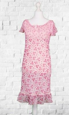 Pretty Debenhams Pink Chiffon Summer Dress// Floral Frill Hem UK Size 13 Years