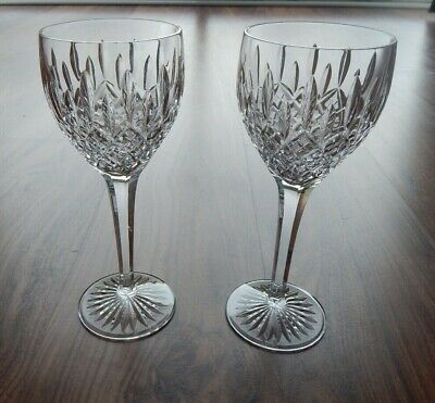 "Pair of Stuart Crystal Shaftesbury Claret Wine Glasses- All Signed - 7 5/8"" Tall"