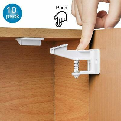 10/12X Baby Safety Cabinet Locks Invisible Child Kids Proof Cupboard Drawer AU