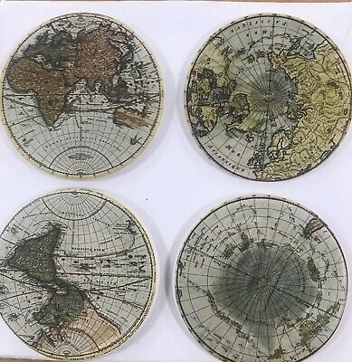 Set of 4 Ceramic Tile round coasters French Shabby Chic Antique vintage Style