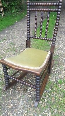 Antique Bobbin Turned Victorian Childs Rocking Chair Makers Badge John Blower