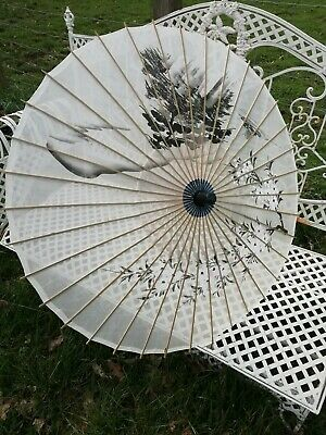 Vintage 1930s White Silk Parasol Hand Painted Chinese Bamboo Pink White Blossom