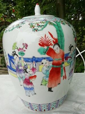 Large Vintage Chinese Jar Lidded Pot Hand Painted 34cm High x 22cm Diameter