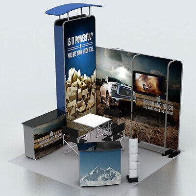 10ft portable custom trade show display booth kit pop up stand TV bracket podium