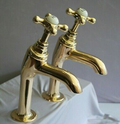 "Large Brass Belfast Kitchen Sink Pillar Taps 3/4""  Reclaimed & Fully Refurbed"
