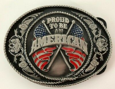 """Siskiyou 1991 Proud to Be An American Belt Buckle 3-1/2"""" x 2-5/8"""" Oval"""
