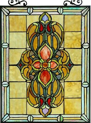 """25"""" x 18"""" Floral Infinity Tiffany Style Stained Glass Window Panel w/ Chain"""