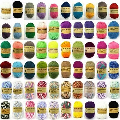 5x100g Knitting Yarn 8ply Acrylic Knitting Wool Craft Solid Multi Colours