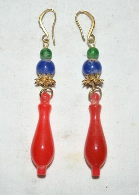 China Women Traditinal Jewelry Old Gilt Silver Earbob Color Jade Earrings Pair