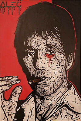 """Alec monopoly Handcraft Oil Painting on Canvas,""""SCARFACE PACINO"""" 24×36"""""""