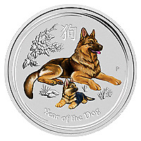 Lot of 10 x 2 oz 2018 Perth Mint Lunar Year of the Dog Colourized Silver Coin