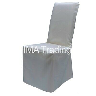 50 Ivory Satin Chair Cover, Ivory Loose Fit Satin Polyester Chair Cover