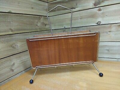Vintage 60s 70s Metal Wire Wood Magazine Rack (Atomic Sputnik Mid Century Retro)