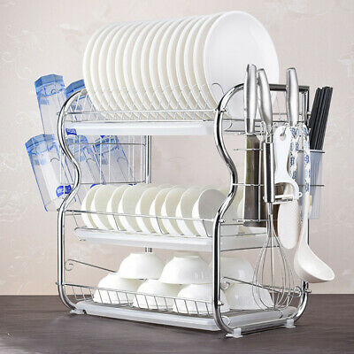 Large Capacity 3 Tier Dish Drainer Drying Rack Kitchen Storage Stainless Steel A