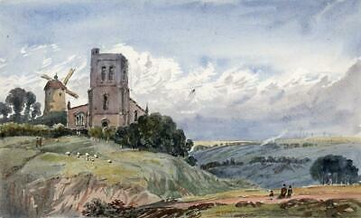 CHURCH & WINDMILL IN LANDSCAPE Victorian Watercolour Painting 19TH CENTURY