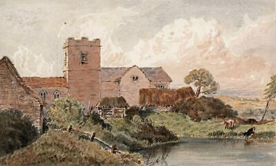 CHURCH & COWS IN LANDSCAPE Small Victorian Watercolour Painting 19TH CENTURY